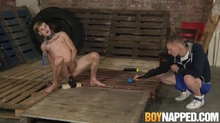 Chained gay slave shoves a giant dildo up his ass for master Couple cumshot