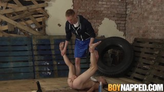 Slave master for gay shoves ass chained his dildo a up giant play big
