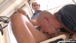 Old husband watch guy licks and fucks her shaved young pussy