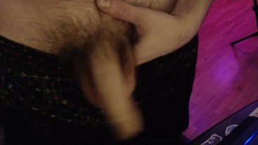 Huge uncut cock close up, hairy cam model shows off uncircumcised dick