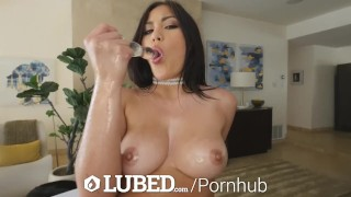 LUBED FAT ASIAN PUSSY takes an OILED UP POUNDING