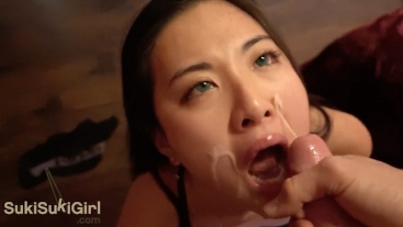 SOAKED her face in CUM! asian sucks cock like a goddess @sukisukigirl pov