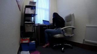 Beautiful Secretary Works From Home in Jeans