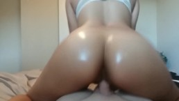 Latina Teen Bouncing Her Tight Gripping Pussy on my Cock