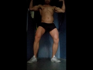 Flexing my hard legs and cock, and a nice load at the end
