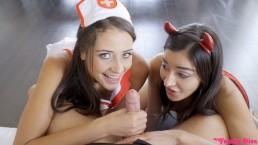Puttanelle di Halloween Ingannate a Fottere Con Creampie a Sorpresa! S4:E7