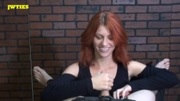 Amazing redhead tickling bondage helpless man