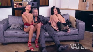 GIRLSRIMMING - My Valentines Rimjob Threesome