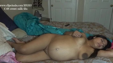 Pregnant Body strip tease TO hand expressing my milky dark tits