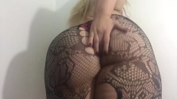 Carlycurvy in pink thong and fishnets