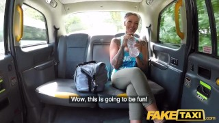 Fake Taxi Busty blonde gym bunny tattooed Milf gets anal workout