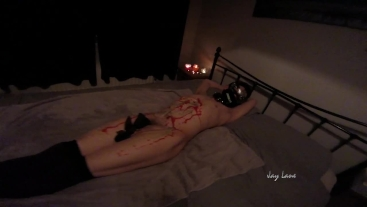 Jay lane strapped down and burned with hot wax by a punk guy