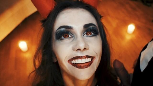Adult haloween couples costumes Horny devil fucked skeleton. halloween with mia bandini
