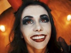 Horny Devil fucked Skeleton. Halloween with Mia Bandini
