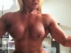 Nude Female Bodybuilder Sissoring Her Huge Legs