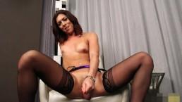 Kendra Jerks her Big Cock in stockings