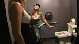 Two Girls Pee In The Mens Room Of A Nightclub