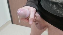 big dick jacking off masturbating at work up close cumshot cum hanging low