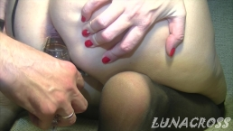 Hard fucking in my tight ass with sweet cum ending in a glass very hot wow