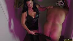 NYC Mistress Cassandra Femdom Spanking Paddling in Leather