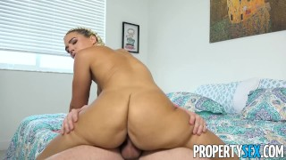 PropertySex - Curvy blonde busted for smoking fucks her roommate