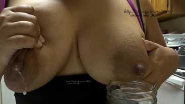 lactating Latina squirting big tits for breast milk cereal. Milf squirting