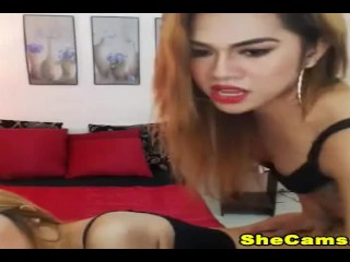 Hot blonde duo shemale showing their big cocks on cam