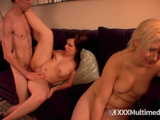 stepbrother tricks two hot stepsisters sucking his big dick
