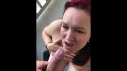 Balcony blowjob and cumshot