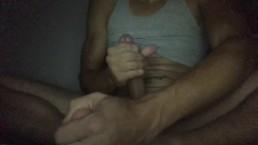 Hubby secretly masbertating to hot webcam girl while wife's asleep