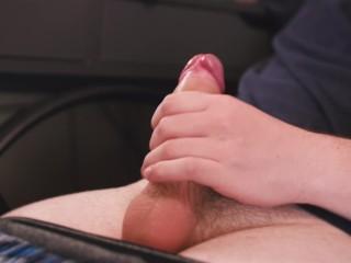 Cute boy massages himself...