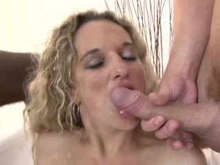Big tit curley blonde haired babe gangbang...