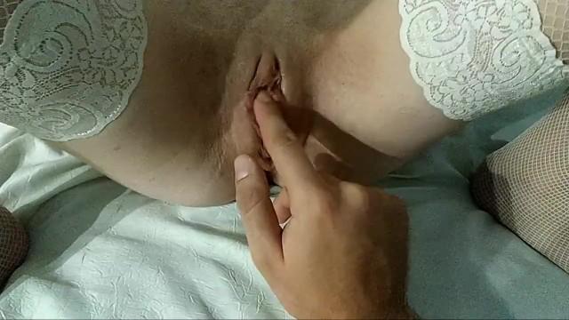 Pussy play, big clit, fingering fat lips while im in stockings 2