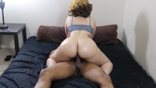 Sexy blonde bubble butt rides BBC until cum leaks out her pussy!