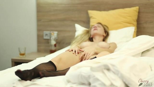 Hot Blonde Masturbates And Fucks Herself With A Huge Dildo 6