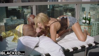 Smooth her black student by seduced blacked college neighbor gets blonde boobs