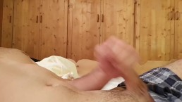 quick cumshot, jerking off my morning wood