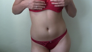 Showing my Body in Red Underwear - Quick Blowjob - Cum on Tits and Belly