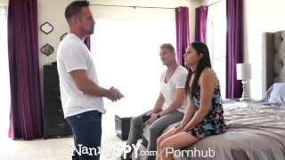 NANNYSPY Dad Makes His StepSon WATCH him FUCK his NANNY Girlfriend Bj blowjob