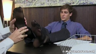 Pervert employee worships boss feet after work in his office Amateur hard