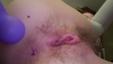 Teasing my tiny tight asshole vibrating butt plug thigh highs