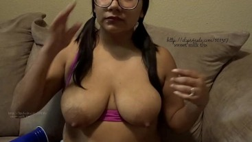 Playing with my nipples, let-down, hand pumping ,self suck. milF
