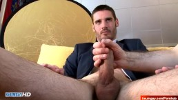My str8 banker made a gay porn where guys touch his big cock !
