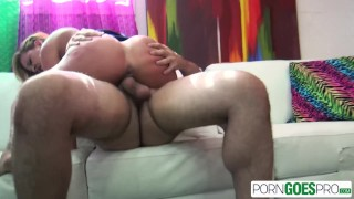 PornGoesPro - Cherie Deville punished by 2 big cocks, big boobs & big booty porno