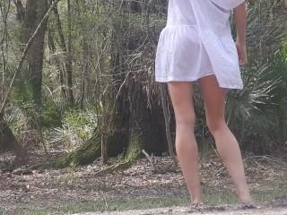 Desire striptease on public road gets bikini...