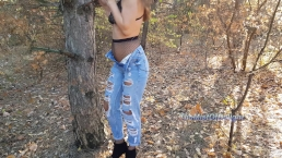 Horny teen loves to play with her tight ass in public park - Nicky Mist 4K
