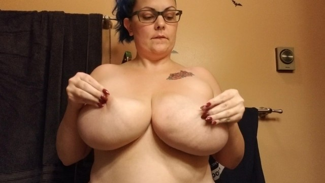 The bouncing sexy booby - Slapping her big natural tits thicc amateur with h cup boobies purplezebra