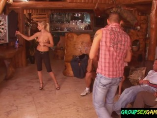 Amateur beauties drilled in group sexgame