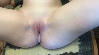 Screen Capture of Video Titled: My roommate fucks me and cum inside (Close Up Creampie)