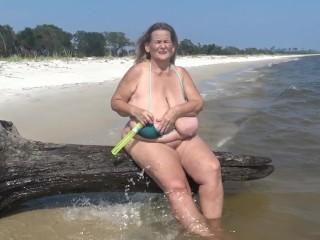 Beach blow bubbles...